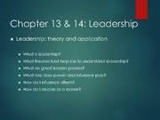 Chapter 13&14 Leadership