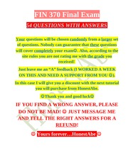 FIN 370 Final Exam # 54 Questions with ANSWERS # THE NEW EXAM!!! # 2nd Set  # BUY THIS ONE #