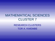 DEPARTMENT OF MATHEMATICS RESEARCH CLUSTERS