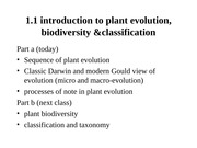 L3 -Introduction to Plant Evolution, Biodiversity and Classification