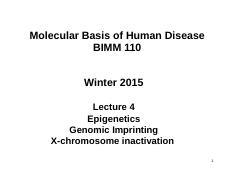 Lecture 4-Epigenetic and X inactivation