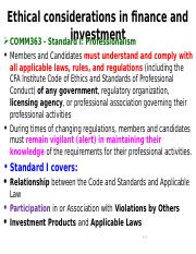 COMM363 - Ethical considerations in finance and investment  (Power Points - Standard I)