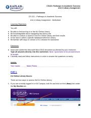 CS121 Unit 4 Library Assignment Worksheet