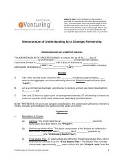 Memorandum of Understanding for a Strategic Partnership
