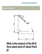 1.3 Resultant of force-couple system sample problems