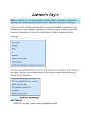KEYSTONES AUTHOR'S TECHNIQUES AND STYLE PACKET