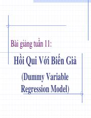 Week 11 - Dummy Variable Regression Model