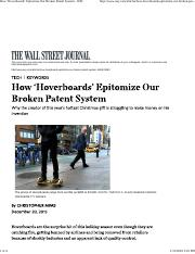 DAY 3 - How 'Hoverboards' Epitomize Our Broken Patent System - WSJ