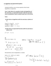 4.4 Logarithmic and Exponential Equations