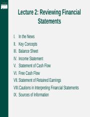 Lecture 2- Financial Statements