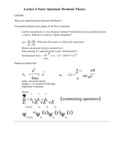 Lecture 4 Notes Quantum Mechanic Theory