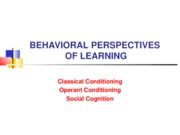 Behavioral Perspectives of Learning