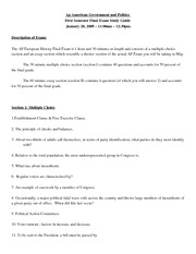 Ap American Government and Politics sem 1 final exam study guide