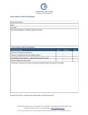 Interviewee Profile Worksheet