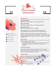 pink flower stationary resume template.docx