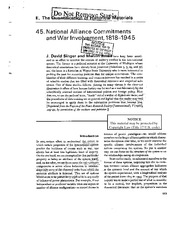 National Alliance Commitments and War Involvement 1818-1945