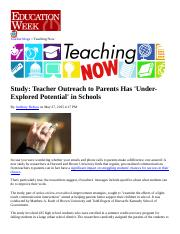 Ed Week article on parent communication