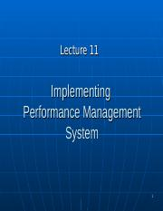 BUS20305 Lecture 11 Implementing PM system