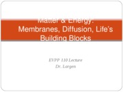 EVPP 110 Lecture - Matter and Energy - Membranes Diffusion Lifes Building Blocks - Student - Fall 20
