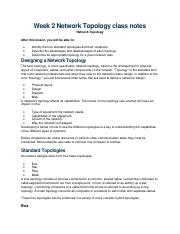 Week 2 Network Topology class notes
