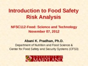 NFSC112-Food Safety Risk Analysis-Pradhan-7Nov2012
