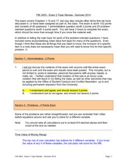 FIN 3403 Summer 2014 Exam 2 Topic Review