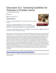 DB 13.1 Screening Guidelines for Testicular or Prostate Cancer.docx