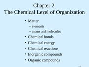 Tortora - Chapter 2 - The Chemical Level of Organization