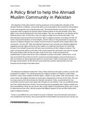 This objective of this policy brief is to bring awareness to the problematic situation of the Ahmadi