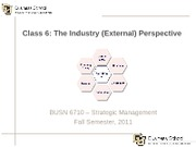 Class 6 - The Industry (External) Perspective