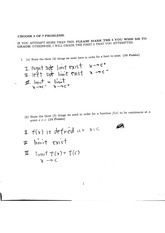 Calculus I exam 1