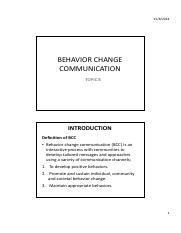 TOPIC 8- BEHAVIOR CHANGE COMMUNICATION