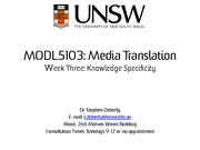 2014s1 Week 3 Knowledge Specificity