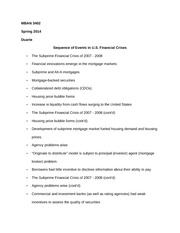 MBAN 3402 Notes on Sequence of Events in U.S. Financial Crises