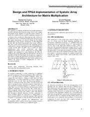 Design and FPGA Implementation of Systolic Array Architecture for Matrix Multiplication