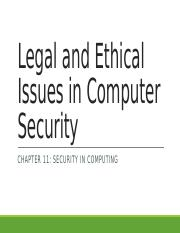 Chapter 11- Legal and Ethical Issues in Computer Security