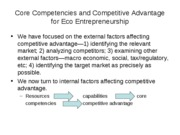 Core Competencies and Competitive Advantage for Eco Entrepreneurship