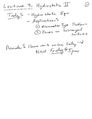 Lecture 04 Notes Hydrostatics II