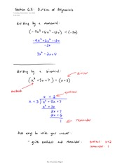 MAT 1320 Division of Polynomials Notes