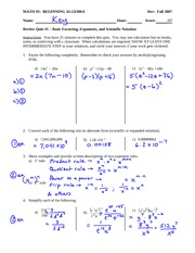 Sample Quiz 1 Answer Key Solution on Beginning Algebra
