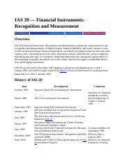 IAS 39 Financial Instruments Measurement and Recognition