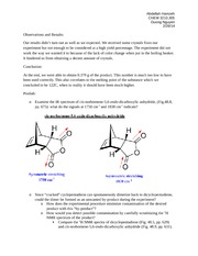 diels alder lab Lab 1 report - diels-alder reaction - download as word doc (doc / docx), pdf file (pdf), text file (txt) or read online.