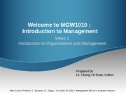 Week 1 Introduction to Organisations and Management