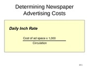 Determining Newspaper Advertising Costs