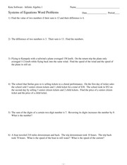 Esystems of equations word problems kuta software infinite esystems of equations word problems kuta software infinite algebra 1 name systems of equations word problems date period 1 find the value of two ibookread Read Online