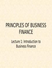Lecture 1 Introduction to Business Finance