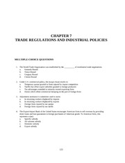 Chapter 7 TRADE REGULATIONS AND INDUSTRIAL POLICIES