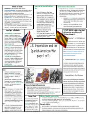 American Imperialism and Spanish American War Review Sheet