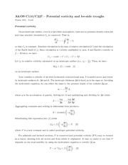 Potential Vorcicity Notes