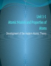 Unit 1-1 Chapter 3 Atomic Models and Properties of Atoms.pptx